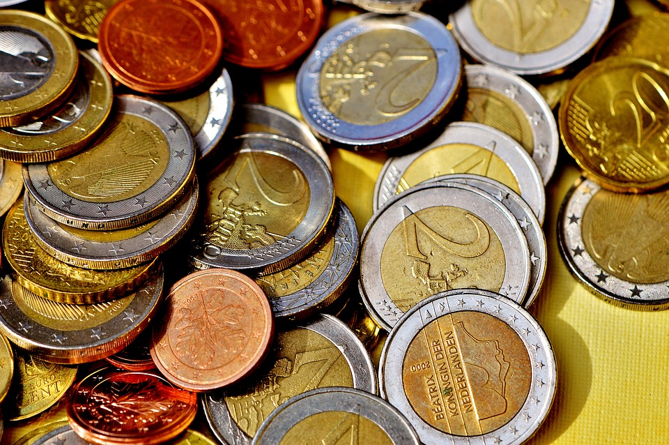 A lot of coins in euro currency