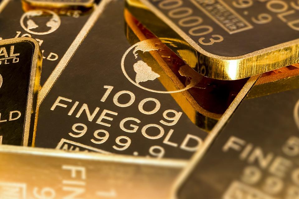 A splendid gold bar in a bank